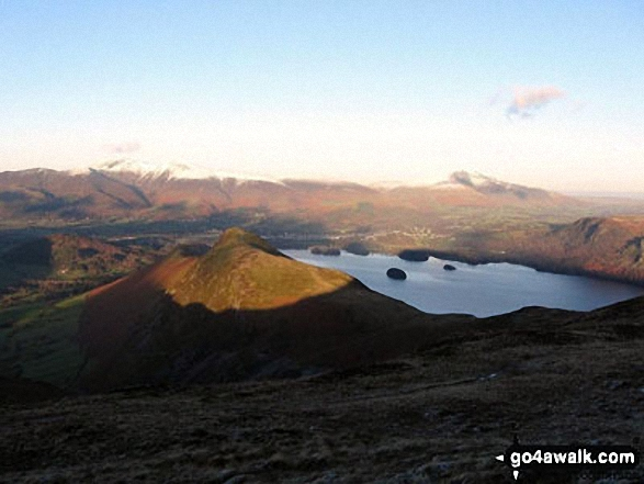 Cat Bells (Catbells) (foreground) with Skiddaw and Blencathra (distance left) and Derwent Water from Maiden Moor