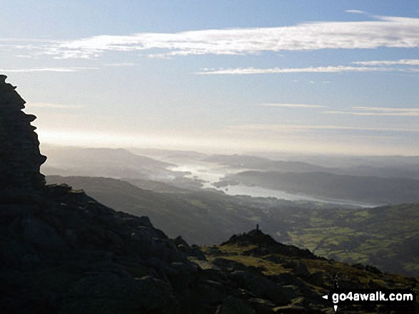 Walk c153 Thornthwaite Crag from Troutbeck - Lake Windermere from the summit of Ill Bell
