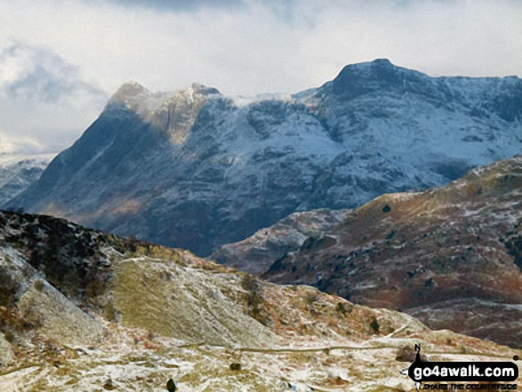 Snow on The Langdale Pikes featuring Pike of Stickle (Pike o' Stickle), Loft Crag and Harrison Stickle from Holme Fell