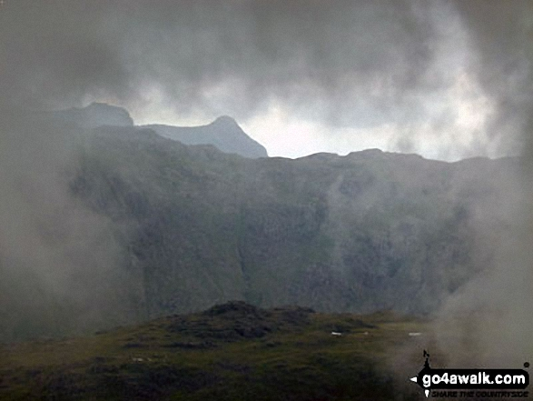 Harrison Stickle and Pike of Stickle (Pike o' Stickle) framed by cloud whilst ascending Green Gable