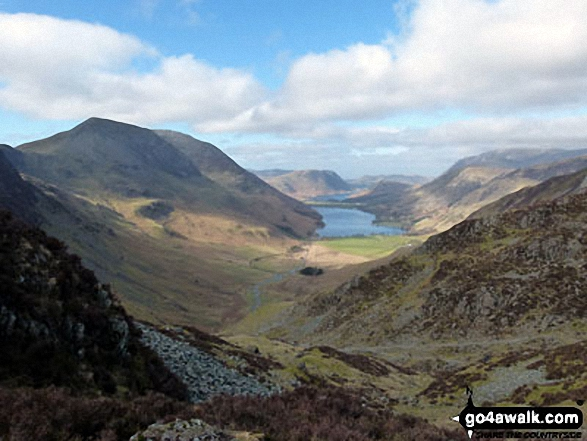 Looking down to Buttermere from near the head of Warnscale Beck. Walk route map c228 Hay Stacks from Buttermere photo