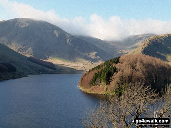 Harter Fell (left) and Mardale Ill Bell (in cloud) seen from above Haweswater Reservoir near Rowantreethwaite Beck