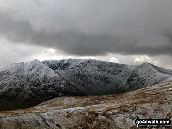 Catstye Cam (left), Helvellyn (centre) and Lower Man (Helvellyn) (right) from near White Side