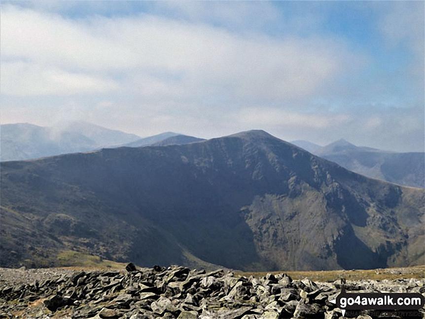 Looking over to Carnedd Dafydd with The Glyderau and Snowdon (Yr Wyddfa) in the distance (left) from Carnedd Llewelyn