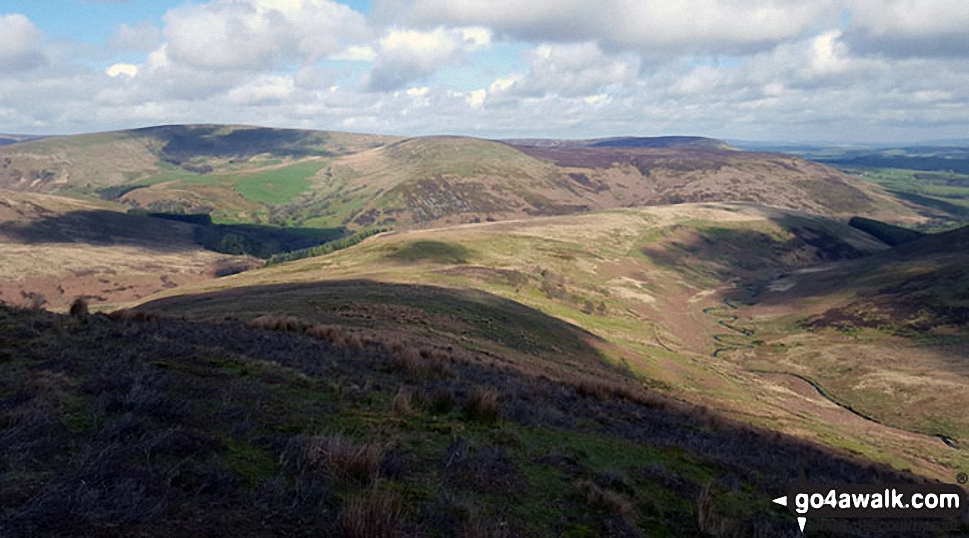 Looking towards Whins Brow, Langden Brook and Dunsop Bridge from Hareden Fell
