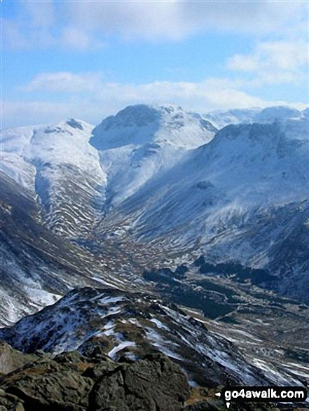 Green Gable left), Great Gable (centre) and Kirk Fell (right) with the Scafell Massif beyond (centre) from High Crag (Buttermere)