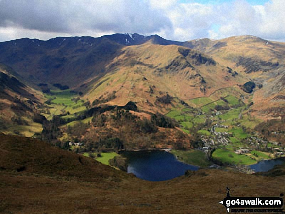 Ullswater, Glenridding and the Helvellyn Ridge from Place Fell. Walk route map c304 Beda Head and Place Fell from Howtown photo