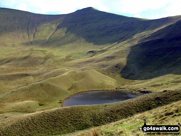 Pen y Fan (far left) and Corn Du with Llyn Cwm Llwch tarn below from near the Tommy Jones Obelisk