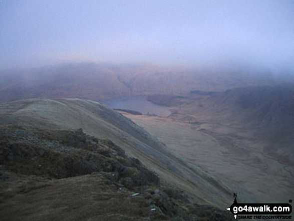 Mardale Head and Haweswater Reservoir from Kidsty Pike. Walk route map c114 High Street from Mardale Head photo