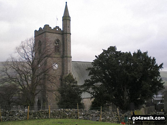 Hawes Church. Walk route map ny149 Great Shunner Fell from Hawes photo
