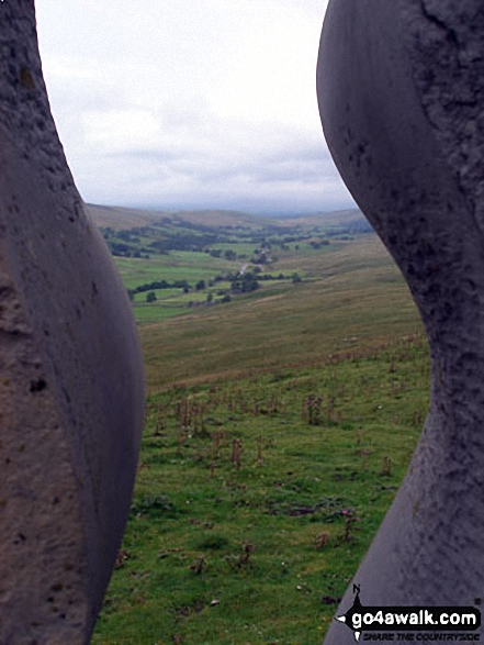 Outhgill and the Mallerstang Valley 'through' The Water Cut Sculpture on Lady Anne's Way