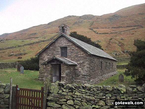Martindale Church near Christy Bridge. Walk route map c304 Beda Head and Place Fell from Howtown photo