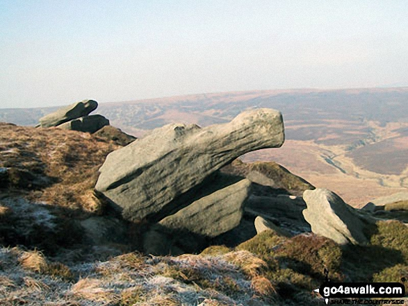 Rock sculptured by the wind on The Edge (Kinder Scout). Walk route map d176 Fairbrook Naze (Kinder Scout) and Mill Hill from Birchin Clough photo