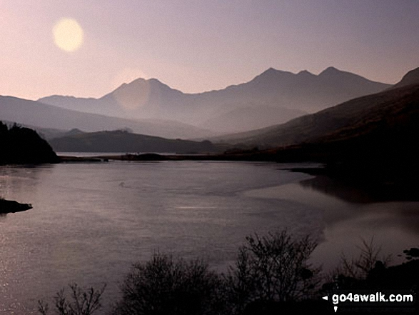 Y Lliwedd (centre left), Snowdon and Crib Goch (right) across Llynnau Mymbyr from Plas y Brenin near Capel Curig