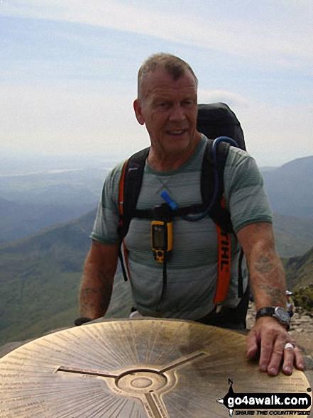 Vince Wetton on the summit of Snowdon (Yr Wyddfa) in 2010. Walk route map gw100 Mount Snowdon (Yr Wyddfa) from Pen y Pass photo