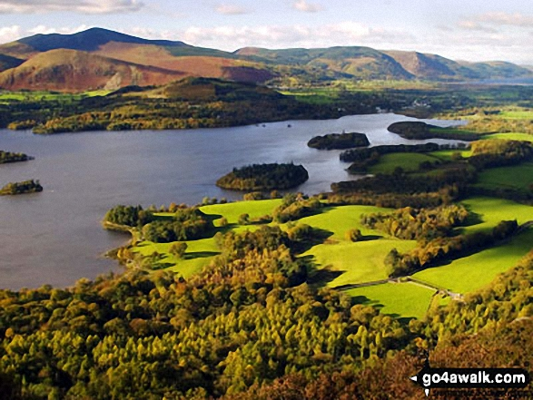 Derwent Water from near Lady's Rake, Walla Crag. Walk route map c201 Ashness Bridge and Walla Crag from Keswick photo