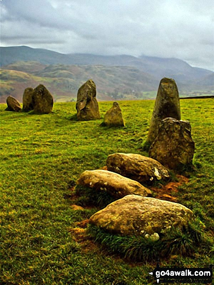 Low Rigg and High Rigg from Castlerigg Stone circle.. Walk route map c201 Ashness Bridge and Walla Crag from Keswick photo