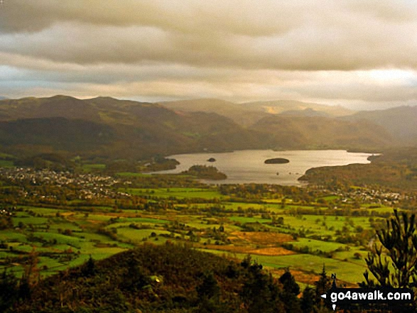 Keswick and Derwent Water from Dodd (Skiddaw).