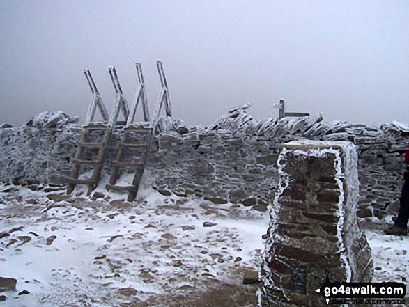 Pen-y-ghent summit in snow