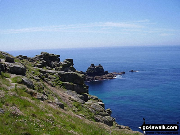 Walk co150 Trevalga Cliffs and Tintagel Castle from Tintagel - The Armed Knight from The South West Coast Path, Land's End