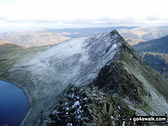 Striding Edge from Helvellyn in all its glory. Walk route map c264 The Grisedale Round from Patterdale photo