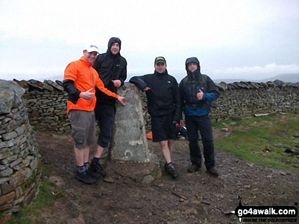 Phil, Carl, Chris and Charlie - 1st time Yorkshire 3 Peakers at Whernside summit