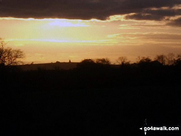 Halnaker Windmill at sunset from Bignor Hill