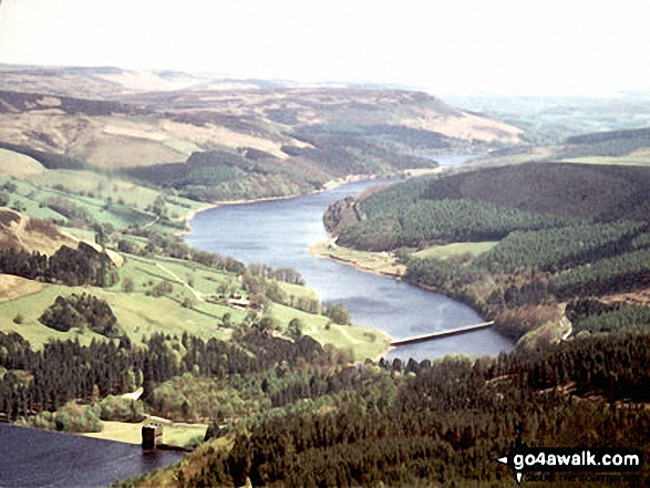 Aerial view looking South East down Ladybower Reservoir. Walk route map d260 Back Tor from Fairholmes Car Park, Ladybower Reservoir photo