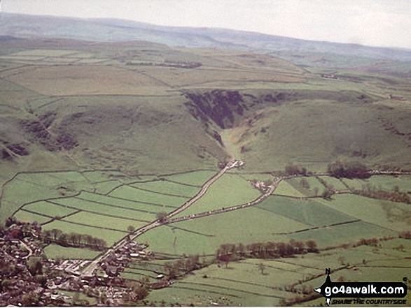 Aerial Shot of Castleton and Winnats Pass. Walk route map d123 Mam Tor via Cavedale from Castleton photo