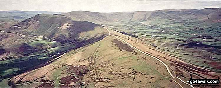 *Aerial Panorama of Hollins Cross and Mam Tor from above Back Tor