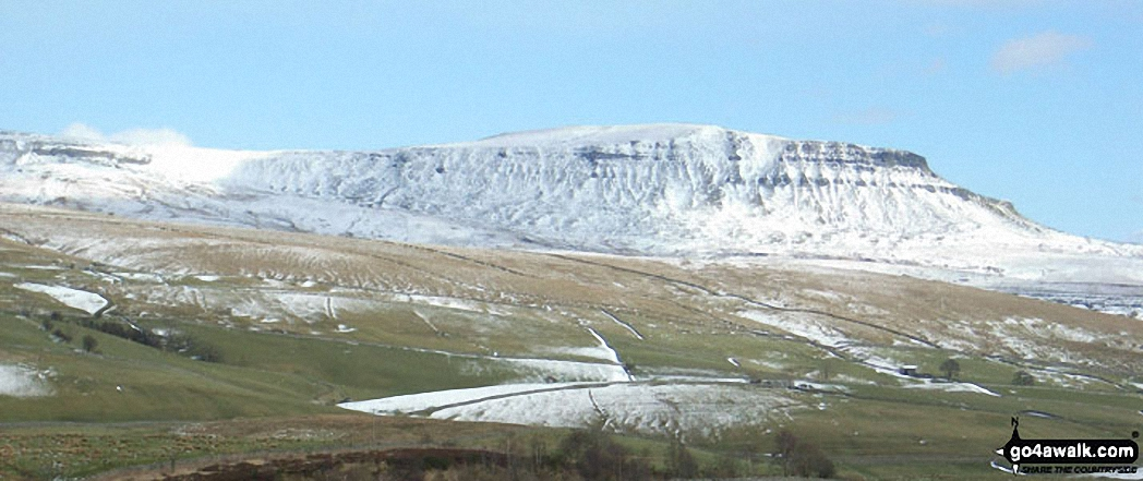 Pen-y-ghent covered in snow from Horton in Ribblesdale