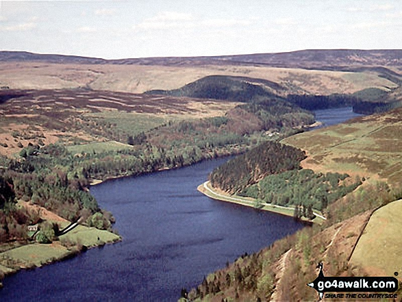 Aerial view looking North up Derwent Reservoir
