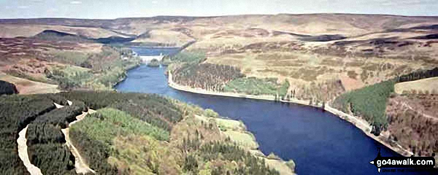 *Aerial Panorama looking North up Derwent Reservoir to Howden Dam with Howden Reservoir beyond