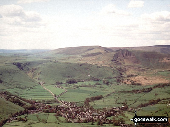 Walk Picture/View: Aerial Shot of Castleton with Winnats Pass and Lord's Seat (Mam Tor) and Mam Tor in The Peak District, Derbyshire, England by Ron Linton (9)