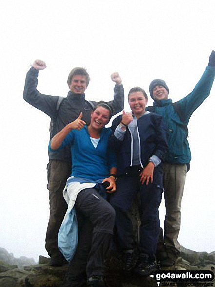 At the top of Snowdon (Yr Wyddfa) with Kate, Ross and Robbie!. Walk route map gw134 Mount Snowdon (Yr Wyddfa) avoiding Crib Goch from Pen y Pass photo