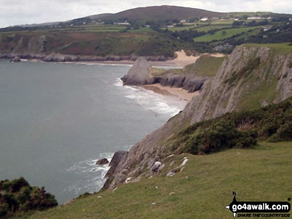 Threecliff Bay with Penmaen beyond from Shire Combe, The Gower Peninsula