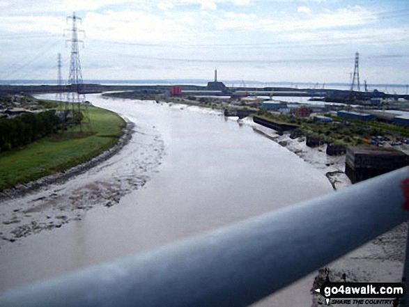 Looking south towards the Newport Wetlands from The Transporter Bridge across the River Usk (Afon Wsyg) in Newport