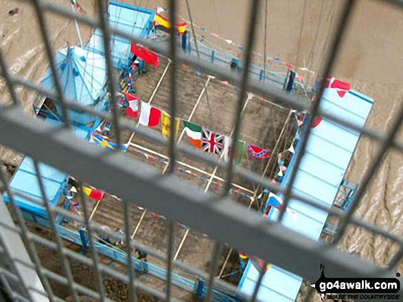 Looking down from The Transporter Bridge across the River Usk (Afon Wsyg) in Newport