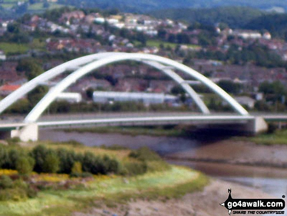 Road bridge over the River Usk (Afon Wsyg) from The Transporter Bridge across in Newport