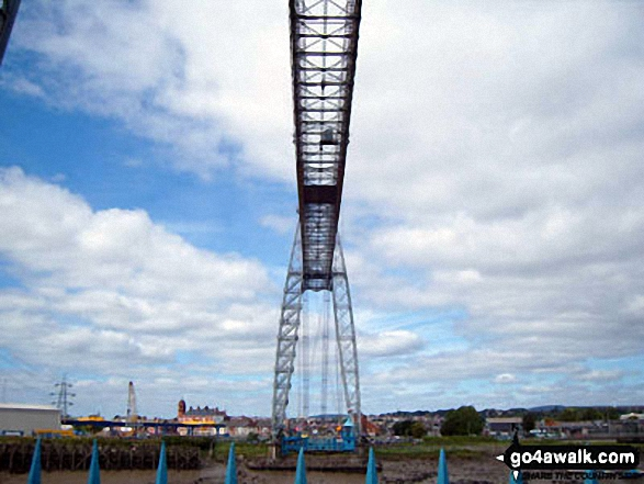 Looking up at the Transporter Bridge across the River Usk (Afon Wsyg) in Newport