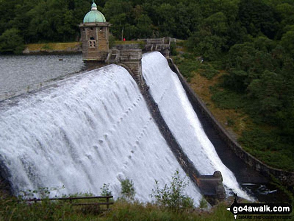 Water over flowing Penygarreg Reservoir Dam