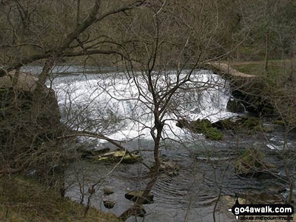 The River Wye weir in Monsal Dale. Walk route map d206 Monsal Dale and Ashford in the Water from Bakewell photo