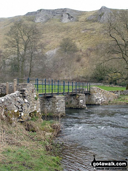 Netherbeck Farm Bridge. Walk route map d270 Monsal Head, Monsal Dale and Deep Dale from Ashford in the Water photo