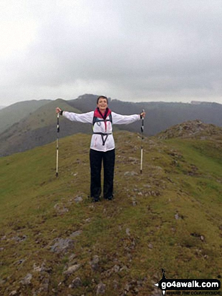 Me on top of Thorpe Cloud, Dove Dale. Walk route map s180 Dove Dale and Ilam Tops from Milldale photo