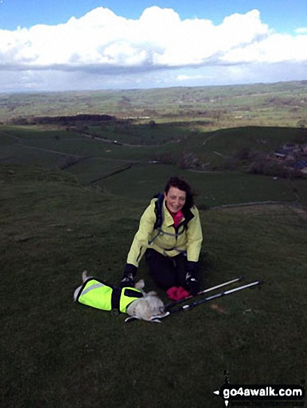 Me and my mascot Maisie on top of Wetton Hill. Walk route map s156 Wetton and Wolfscote Dale from Milldale photo