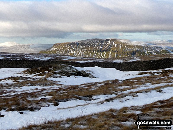 The Yorkshire Three Peaks - Ingleborough (left), Pen-y-ghent (centre) and Whernside (right) from the summit of Fountains Fell