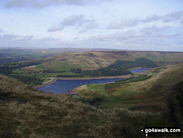 Walk gm134 Stable Stones Brow (Hoarstone Edge) and Alphin Pike from Dove Stone Reservoir, Greenfield - Dick Hill and Dovestones Reservoir from Hoarstone Edge