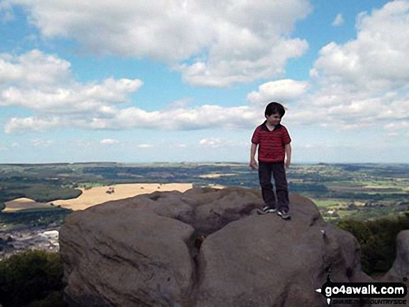 My little man on top of The Chevin (Otley Chevin)
