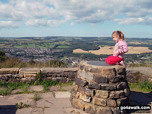 My daughter on top of The Chevin (Otley Chevin)
