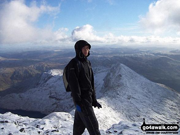 My Boyfriend, Oli Booth on Snowdon, <br>overlooking the Crib Goch ridge walk Snowdonia Gwynedd Wales walks
